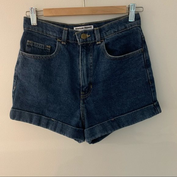 American Apparel // High Waisted Jean Shorts 27